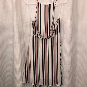 Striped backless tie dress